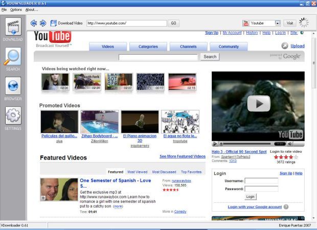 O Vdownloader faz uma busca em 12 sites e já baixa o vídeo convertido